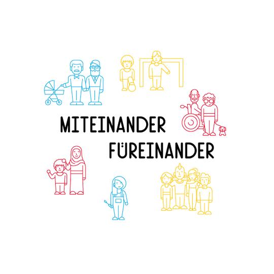 """Illustration: Mehrere Menschengruppen in bunten Farben stehen um den Schriftzug """"Miteinander Füreinander"""""""
