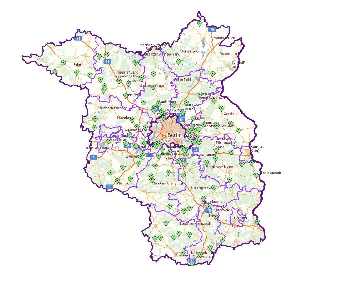 Karte, auf der alle Standorte des Maerkers in Brandenburg verzeichnet sind.
