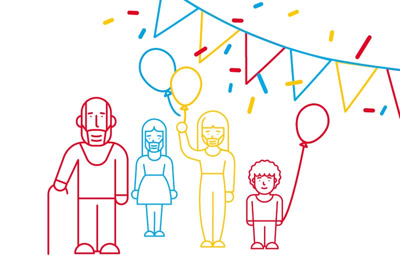 Skizzenhafte Menschengruppe mit kleinem Jungen, Mädchen, einem älterem Herr mit Gehstock. Eine Frau hält einen Luftballon. Girlanden und Konfetti im Hintergrund.