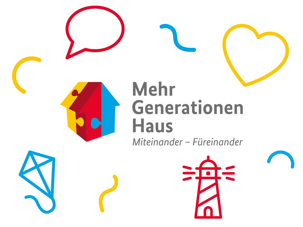 Das Logo des Bundesprogramms Mehrgenerationenhäuser, umgeben von verschiedenen bunten Icons.