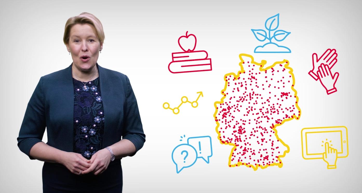 Ausschnitt aus dem Imagefilm, in dem Bundesfamilienministerin Franziska Giffey neben einer animierten Deutschlandkarte zu sehen ist.