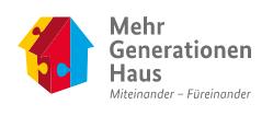 Das Logo des Bundesprogramms Mehrgenerationenhaus. Miteinander – Füreinander.
