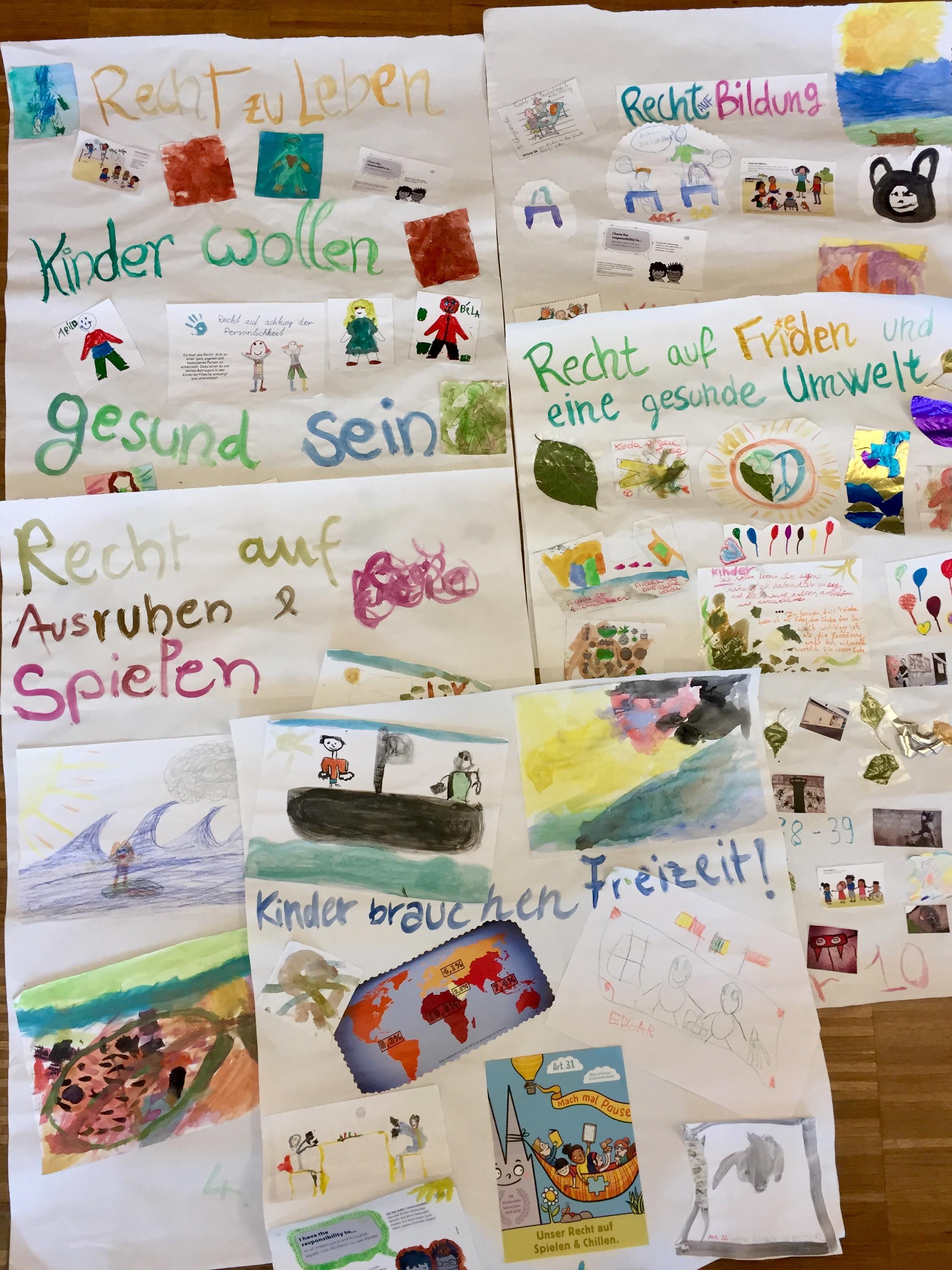 Kinderrechte-Plakate, die mit Kindern in der Familiennacht entstanden sind