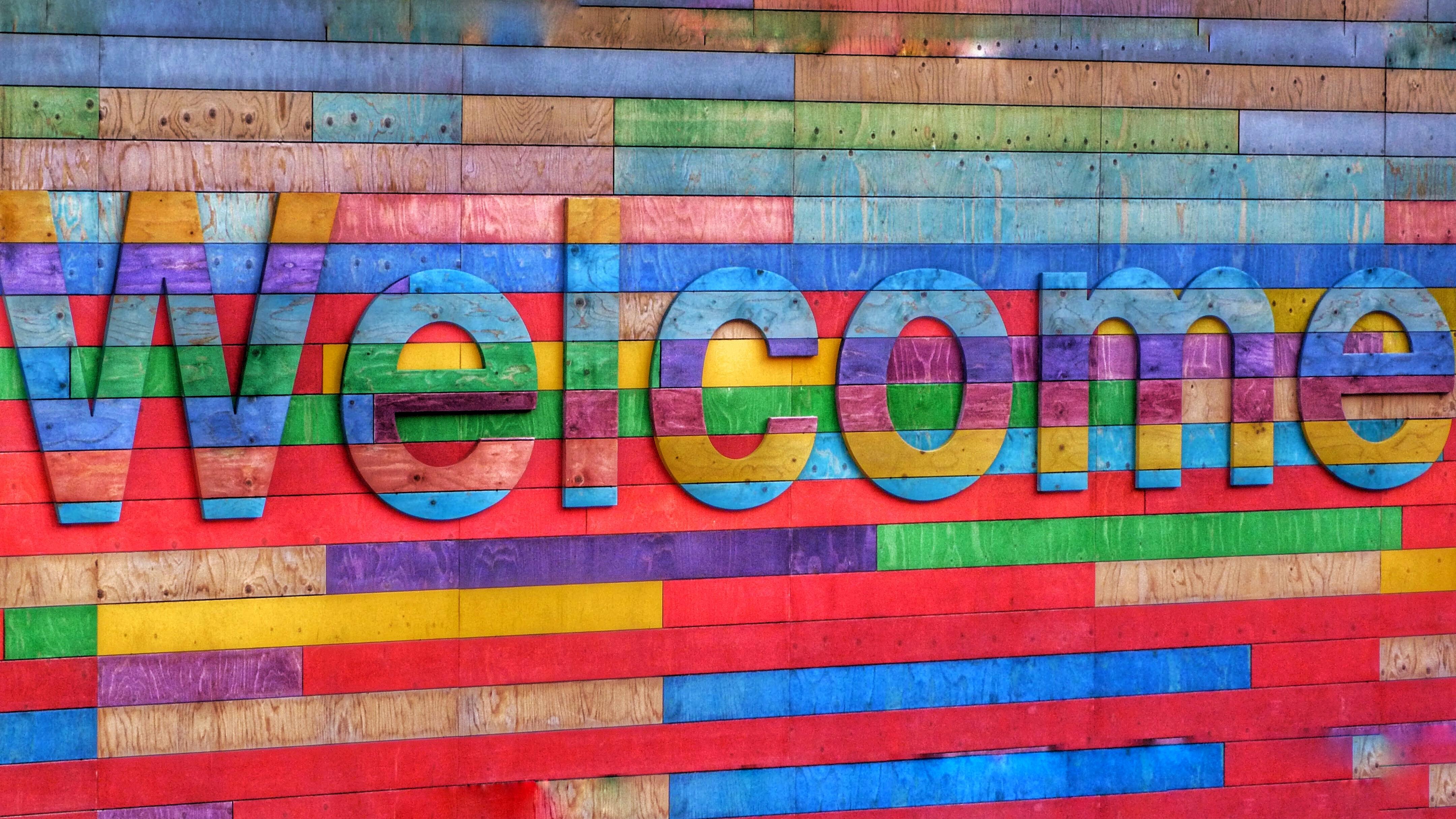 Buntes Welcome-Schild
